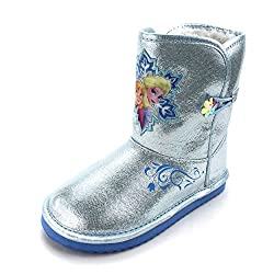 Frozen Kids Faux Fur Lined Winter Boots (Silver Elsa & Anna, 9 M US Toddler)