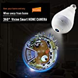 YANWIN Light Bulb 960P Wifi Wireless IP IR Camera with Fisheye Lens 360°Panoramic for Remote Home Security System Motion Detection Baby Monitors Mini CCTV Camera 1.3MP