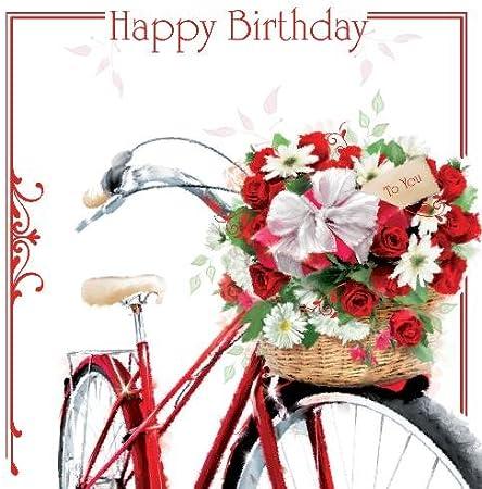 Feliz cumpleaños – flores en una bicicleta en cesta diseño hembra Tarjeta de felicitación de cumpleaños: Amazon.es: Hogar