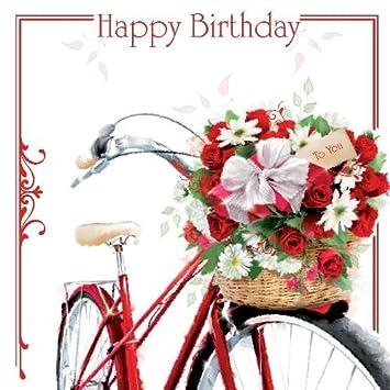 Joyeux Anniversaire Vélo De Ville Pour Femme Et Fleurs Dans Un