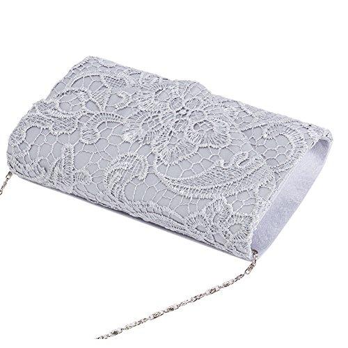 Satin Lace Clutch U Envelope Silver Evening Floral Wedding Womens Bridal Handbag Story Purse Ixwgaw1U