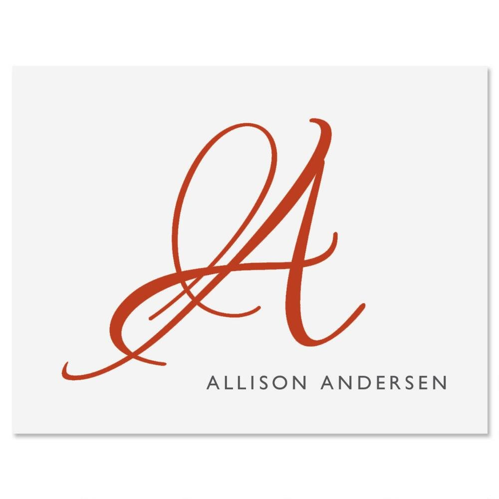 Personalized Red Initial Note Cards - Set of 24 (1 design) 4-1/4'' x 5-1/2'' blank inside, Add a Name and Initial, Graduation Gift, Thank You Card