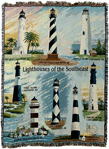Pure Country Weavers - Lighthouses of the Southeast Key West Cape Hatteras Sapelo Tybee Harbor Town Cape Lookout Canaveral Hunting Island Woven Tapestry Throw Blanket with Fringe Cotton USA Size 72 x 54