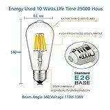 Augeek 100 Watt Equivalent, Dimmable, Soft/Warm White, E26/E27 Base ST64 Vintage Edison LED Light Bulb for Restaurant,Home,Reading Room,Office,2-Pack