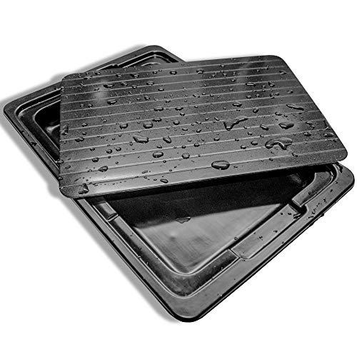 Premium Defrosting Tray With Drip Plate By Làmaj   Thick Aluminium Thaw Defrost Tray For Meat, Chicken, Fish & Veggies   Non-Stick, Convenient & Dishwasher-Safe De-Frosting Board