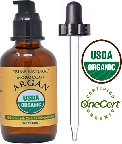 Moroccan Organic Argan Oil - 4oz USDA Certified - Cold Pressed, Extra Virgin, Unrefined - 100% Pure Argania Spinosa - Best for Face, Hair, Skin & Nails - Anti-Aging, Hair Growth, Natural Moisturizer