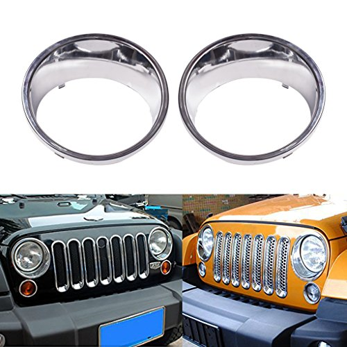 Chrome Front Bezel - Allinoneparts Front Headlight Chrome Silver Trim Cover Bezels Pair Jeep Wrangler Rubicon Sahara Sport JK Unlimited Accessories 2 door 4 door 2007-2017