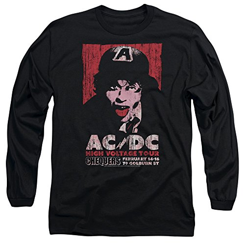 ACDC High Voltage Live 1975 Unisex Adult Long-Sleeve T Shirt for Men and Women, Large Black