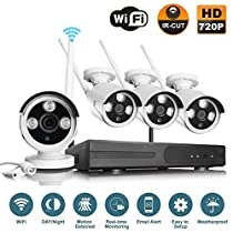 VOYAGEA 1280 720P HD Wireless 1MP Network Camera 4CH960 NVR Wireless monitoring security system NVR CCTV Surveillance Systems Support Smartphone Remote view 1TB hard driveA2