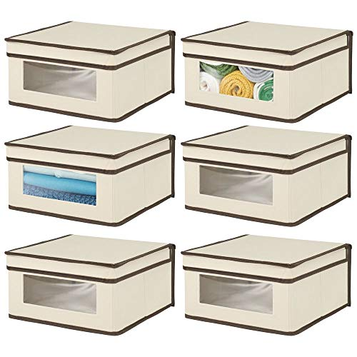 mDesign Soft Stackable Fabric Closet Storage Organizer Holder Bin with Clear Window, Attached Hinged Lid - for Bedroom, Hallway, Entryway, Bathroom - Medium, 6 Pack - Cream/Espresso Brown