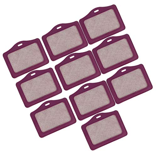 10pcs ID Card Badge Holder Clear Horizontal with Waterproof Type Resealable (Color - Purple) -
