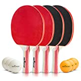 #8: Table Tennis Set - Pack of 4 Premium Paddles/Rackets and 6 Table Tennis Balls - Soft Sponge Rubber - Ideal for Professional & Recreational Games - 2 or 4 Players - Perfect Set On The Go.