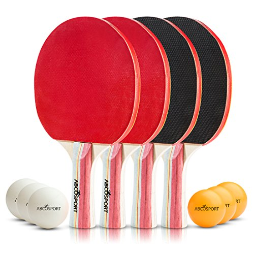 Table Tennis Ping Pong Set - Pack of 4 Premium Paddles/Rackets and 6 Table Tennis Balls - Soft Sponge Rubber - Ideal for Professional & Recreational Games - 2 or 4 Players - Perfect Set On The Go (Best Table Tennis Paddle Rubber)