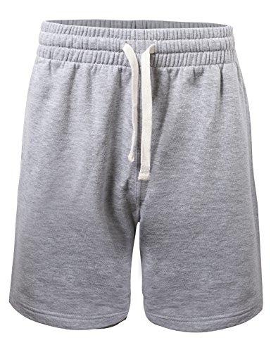ProGo Men's Casual Basic Fleece Marled Shorts Pants with Elastic Waist (Heather Gray, Medium) ()