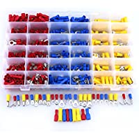 Hilitchi 785Pcs 22-10 Gauge Mixed Assorted Electrical Insulated Ring Bullet Butt Spade Fork Splice Crimp Wire Terminals Disconnects Connectors Set