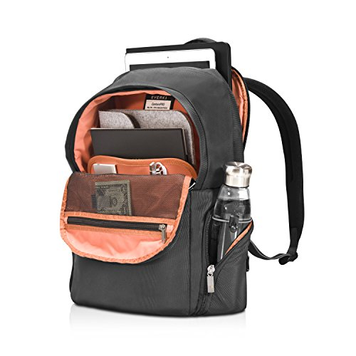 Everki ContemPRO Commuter - Laptop Rucksack für Notebooks bis 15,6 Zoll (39,6 cm) mit extra Fach für Laptop und iPad / Pro / Kindle / Tablet, Trolley-Lasche und weiteren hochwertigen Funktionen, Navy Schwarz