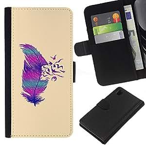 iBinBang / Flip Funda de Cuero Case Cover - Birds Abstract Deep Minimalist - Sony Xperia Z1 L39H