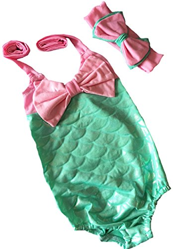 [Little Girls One-Piece Mermaid Fish Scale Bikini with Headband Princess Swimming Suit (4-5 years,] (Cute Kiddie Costumes)