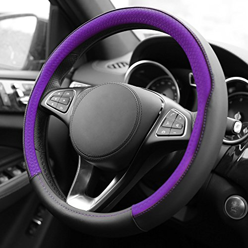 FH Group FH2009PURPLE Geometric Chic Genuine Leather Steering Wheel Cover, 1 Pack 1999 Audi A4 Steering