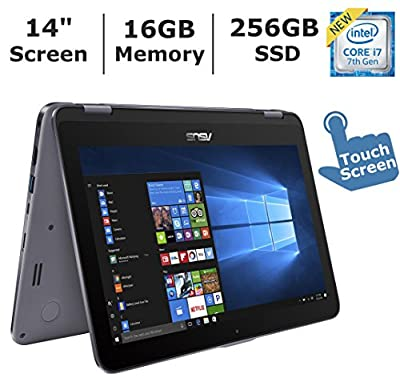 """ASUS VivoBook Flip 2-in-1 Flagship High Performance Laptop, 14"""" Full HD Touchscreen, Intel Core i7-7500U up to 3.5GHz, 16GB DDR4 RAM, 256GB SSD, Windows 10 Home"""
