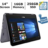 ASUS VivoBook Flip 2-in-1 Flagship High Performance Laptop, 14 Full HD Touchscreen, Intel Core i7-7500U up to 3.5GHz, 16GB DDR4 RAM, 256GB SSD, Backlit Keyboard, WiFi, Bluetooth 4.1, Windows 10 home