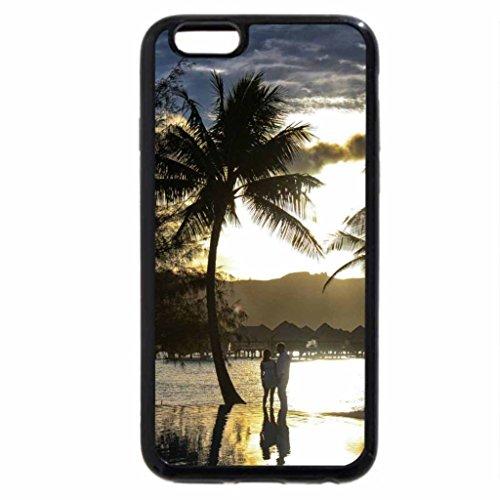 iPhone 6S Case, iPhone 6 Case (Black & White) - Bora Bora Sunset over Pool