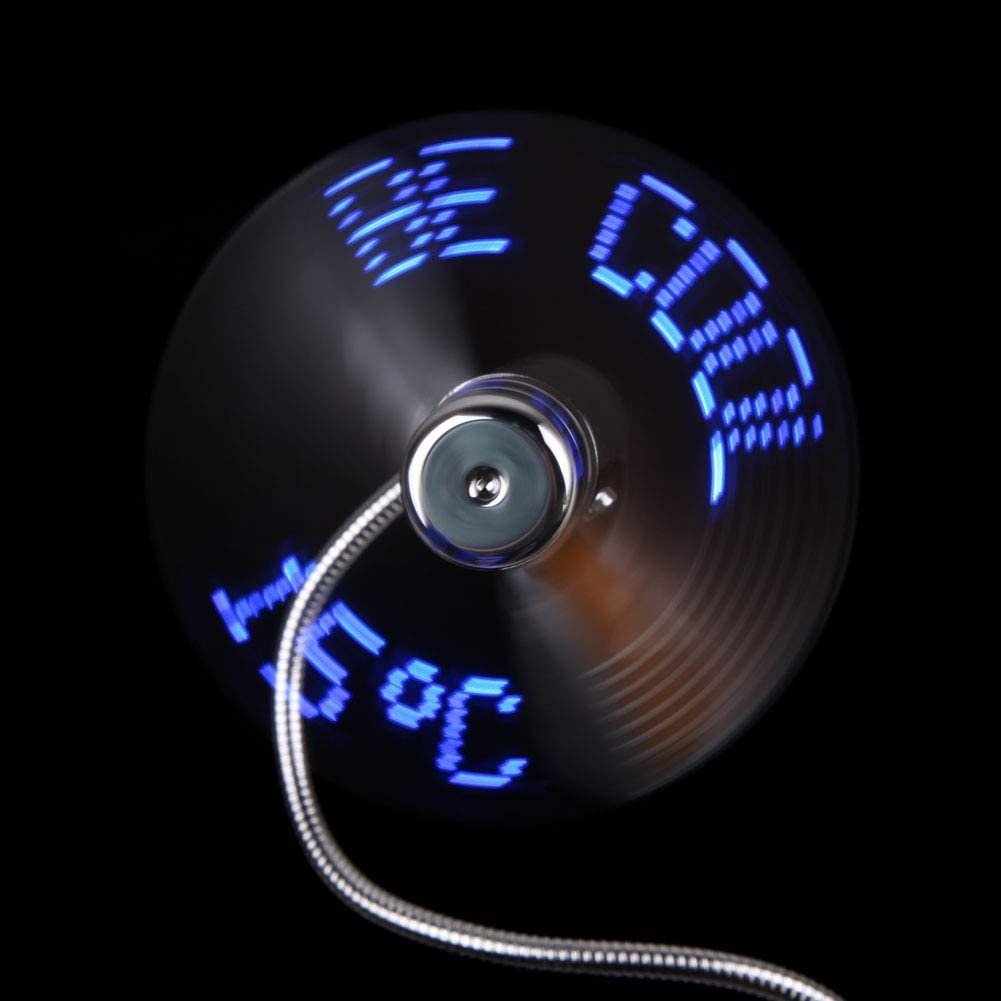 Blue-Ocean-11 New Flexible LED Flash USB Fan with Real timeTemperature Display durable Soft Blades USB Gadgets 40x8.8cm