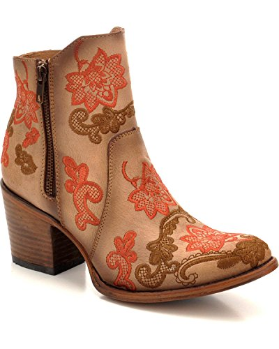 CORRAL Womens Camel Floral Embroidery Ankle Boot Round Toe Camel 7.5 M DDNxg7O