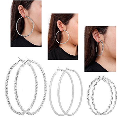 ngs Big Large Hoop Earrings for Women Statement Rounded Circle Earrings Set 3 Pairs (Silver#1) ()