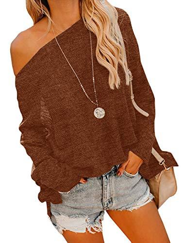 Geckatte Womens Dolman Tops Lightweight Oversized Off Shoulder Knit Pullover Sweater Jumper (Large, Multicolor) ()