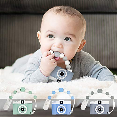 tuxepoc Baby teethting Toys Camera Teether Pain Relief Toy with Silicone Pacifier Clip Soft chew Toys for Kids Safe Gifts for Teething Babies