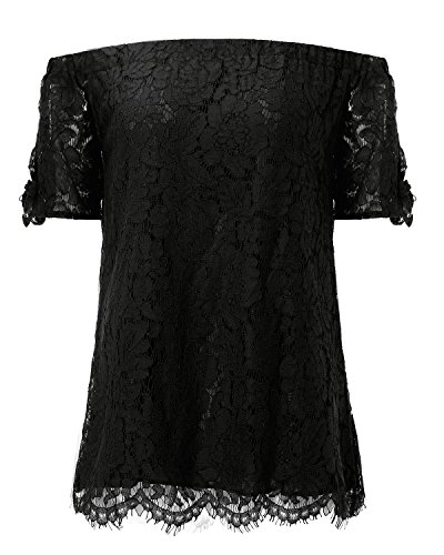 415118bf887 StyleDome Women Strapless Lace Off Shoulder Elegant Tie Short Sleeve Crochet  Blouse Sexy Tee Tops Black