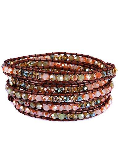 Eudora Mix Color Crystal Glass Bead on Genuine Leather Bracelet, 5 Wraps, 4.2mm/bead