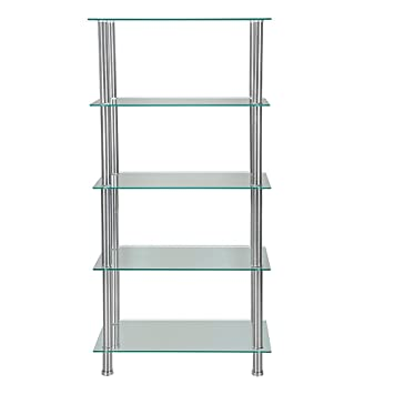 Markliu Glass Shelving Unit Display Table Storage Living Room Furniture 5  Tier With Chrome Legs,