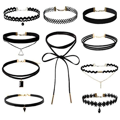 D B Mood 10 Pcs Womens Black Velvet Choker Necklace For Girls Lace Choker Tassel Tattoo Necklace Black