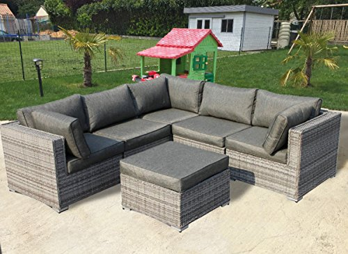 StellaHome Patio Furniture set Wicker Sofa Sectional Conversation Modular Couch Corner Set Gray Cushioned -No Assembly