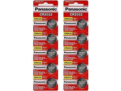 Panasonic CR2032 3 Volt Lithium Battery, Pack of 10(2 Packs of 5)