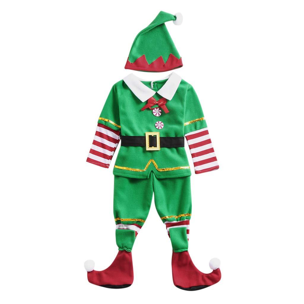 Zlolia Infant Baby Boys Girls 5 Piece Set of Santa Claus Elf Cosplay Costume Set (Cap + Shirts Top + 2 Pairs Socks + Belt) Green by Zlolia-Christmas