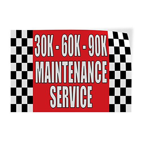 Decal Sticker Multiple Sizes 30K - 60K - 90K Maintenance Service #1 Business 30K Maintenance Service Outdoor Store Sign Red - 34inx22in, Set of 5 from Sign Destination
