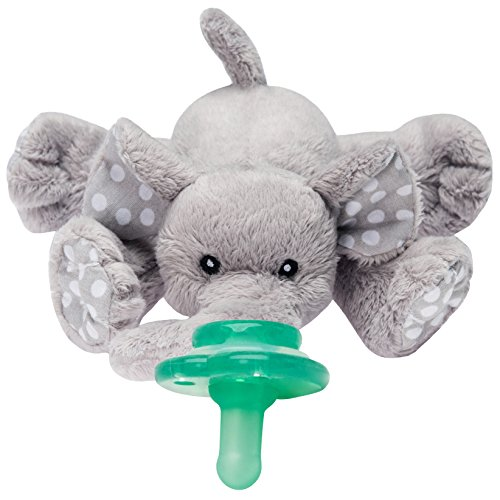 Nookums Paci-Plushies Elephant Buddies - Pacifier Holder (Plush Toy Includes Detachable Pacifier, Use with Multiple Brand Name Pacifiers) -