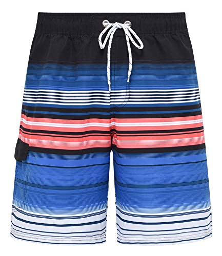 - Tyhengta Mens Striped Swim Trunks Beach Board Shorts with Mesh Lining Blue 40