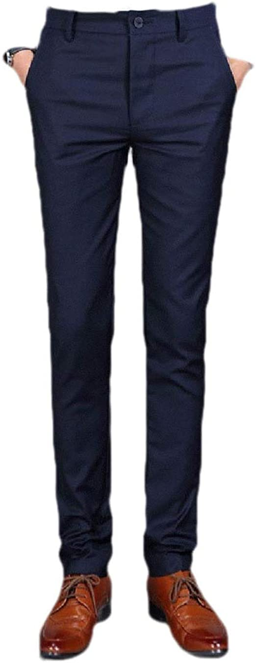 Beeatree Men Business Relaxed Fit Cotton Slim-Fit Dress Pant with Pockets