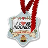 Add Your Own Custom Name, I Love Indonesia Christmas Ornament NEONBLOND