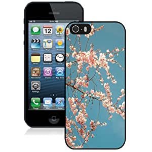 Fashionable And Unique Designed Cover Case For iPhone 5 5S With Cherry Blossom Tree_Black Phone Case