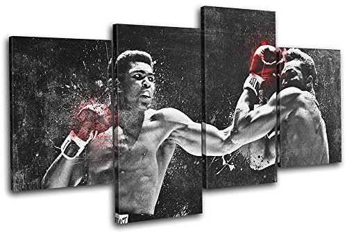 (Bold Bloc Design - Muhammad Ali Boxing Grunge Sports 120x68cm MULTI Canvas Art Print Box Framed Picture Wall Hanging - Hand Made In The UK - Framed And Ready To)