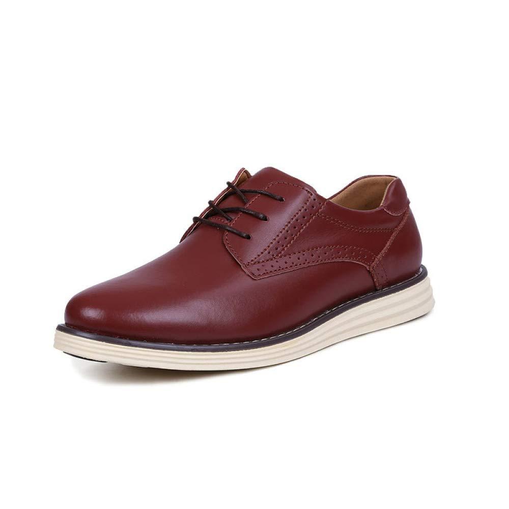 LYZGF Männer-Jugend-zufällige Stilvolle Bequeme Runde Kopf-Spitze-Leder-Schuhe
