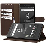 StilGut Talis, Wallet Case with Slots & Stand Function for Sony Xperia Z5 Premium, Cognac Brown
