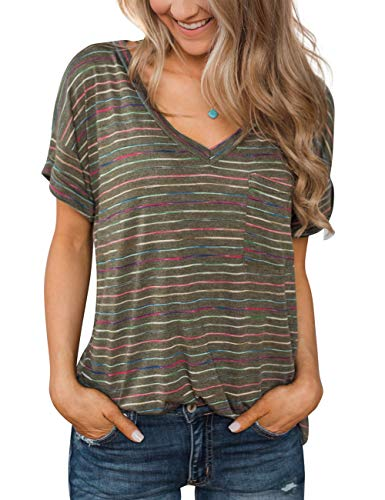 (Summer Soft Loose Casual Women's Tops Shirts Fashion Striped Blouses Short Sleeve V Neck Tunic T Shirt Green)