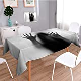 SCOCICI1588 Linen Water Resistant Tablecloth Silhouette of Woman behind the Veil Scared to Death Obscured Paranormal Gray Washable Table cloth Dinner Kitchen Home Decor-W52 x L108