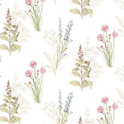 Pink Toile Wallpaper - Manhattan comfort NWAB42445 Woodbury Series Vinyl Floral Toile Design Large Wallpaper Roll, 20.5